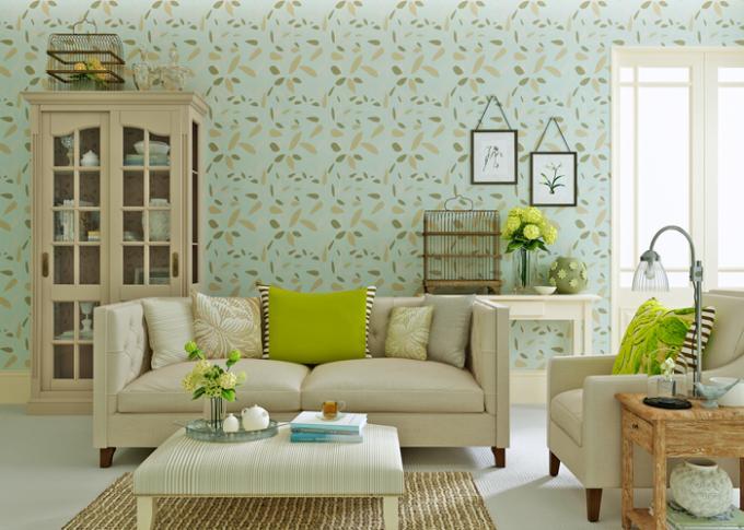 papier peint d montable moderne de mod le vert de feuille tanche l 39 humidit. Black Bedroom Furniture Sets. Home Design Ideas