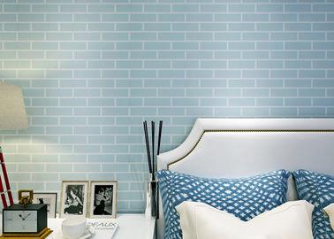 De bleu revêtement mural auto-adhésif collé pré - non tissé/papier peint de la brique 3D, norme de la CE