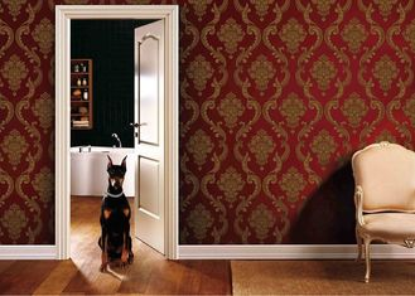 revêtements muraux démontables de PVC de salon de 0.53*10M avec le rouge et la couleur d'or, GV d'OIN