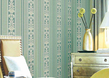 Papier peint floral rayé classique lavable, revêtements muraux durables matériels de vinyle