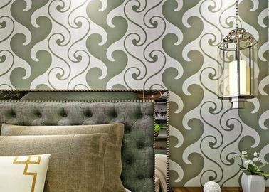 papier peint de papier peint de velours de 0.53*10m, blanc et vert texturisé de velours pour la décoration à la maison