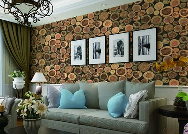 Chinese Style Embossed 3D Home Room Decoration Wallpaper For Saloon / TV Background