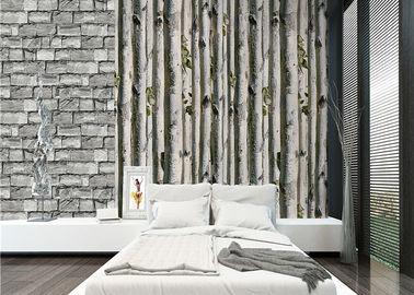 Papier peint de la maison 3d d'arbre de bouleau gris/aucune isolation thermique toxique de papier peint de salon