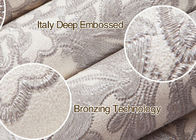 Ivory White Embossed Floral Pattern Wallpaper / Wall Coverings For Shop Walls