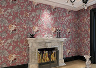Waterproof Asian Inspired Wallpaper with Embossed Floral Pattern , 0.53*10m/ roll