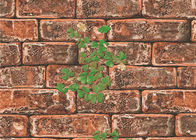 3D Brick Green Plants Pattern Contemporary Wall Covering For TV Background