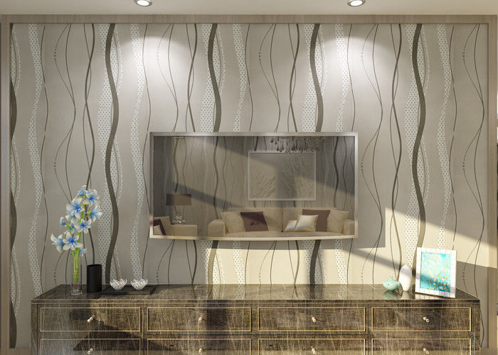 Curve Line Design Gray Modern Removable Wallpaper  for TV Background 0.53*10M
