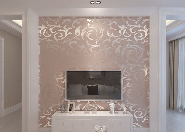 papier peint lavable de relief de vinyle de mod le de feuille argent e pour le m nage h tel. Black Bedroom Furniture Sets. Home Design Ideas