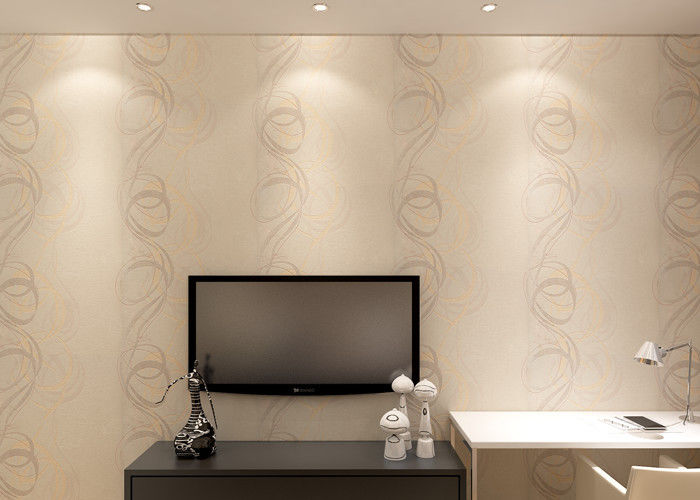0.53*10M Washable Vinyl Wallpaper Embossed Circle Stripes for Living Room