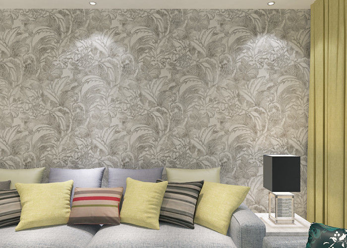 Eco - Friendly Silver Vinyl Removable Wallpaper With Floral And Leaf  Pattern , 0.53*10M