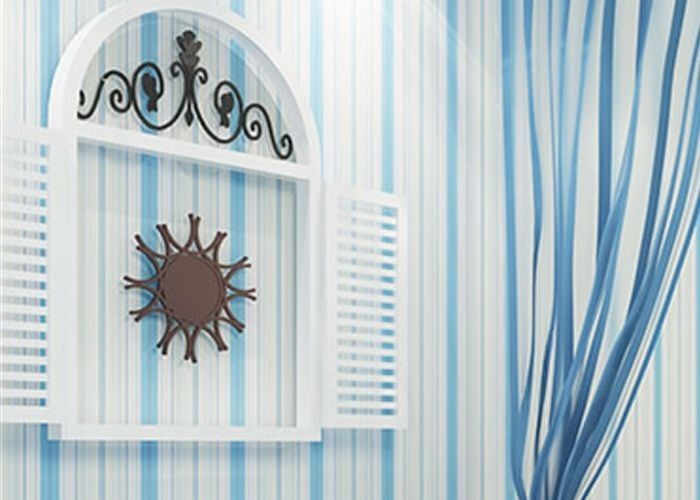 Embossed Kids Bedroom Wallpaper , Vinyl Blue and White Striped Wallpaper