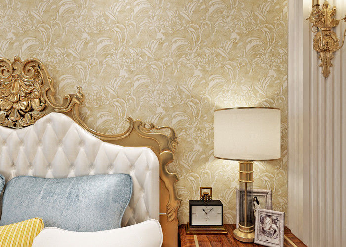 PVC Retro Light Yellow Floral Pattern Wallpaper With Embossed For Bedrooms