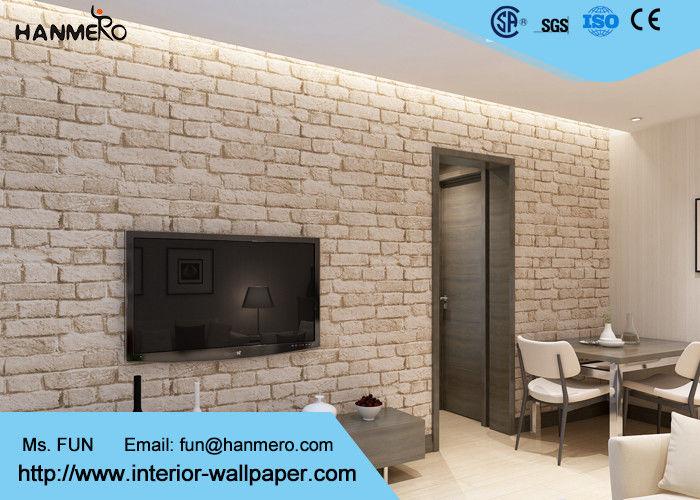 papier peint d montable d 39 effet de brique du non woven 3d avec la couleur grise blanche. Black Bedroom Furniture Sets. Home Design Ideas