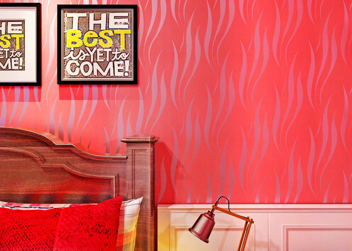 Heat Insulation Home Wallpaper / Contemporary Red Wallpaper For Sitting Room