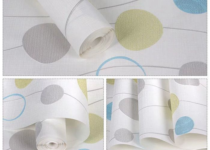 Blue And White Self Adhesive Wallpaper , Home Decoration Wallpaper Non Woven Material