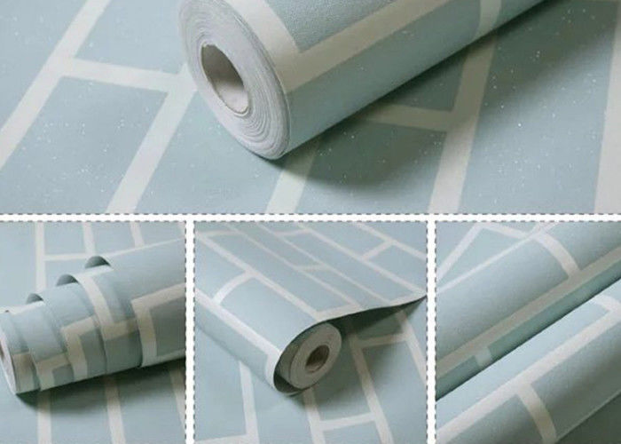 Non Woven Blue Brick Self Adhesive Textured Wallpaper Waterproof with OEM Service