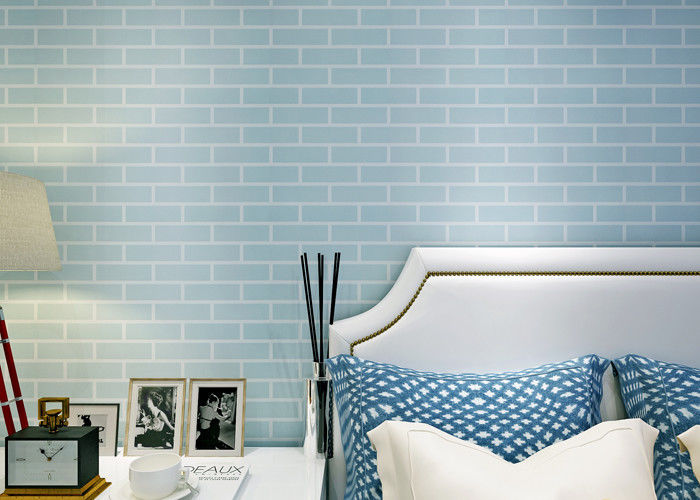 Blue Pre - Pasted Self Adhesive Wall Covering Non Woven / 3D Brick Wallpaper , CE Standard