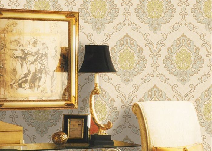 Mulit Color Velvet Flock Wallpaper Strippable With 1.06*10M Size , Non - Pasted Style