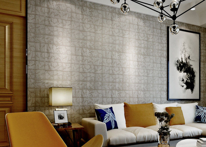 Fireproof 3D Brick Effect Wallpaper / Textured Brick Wallpaper For Project , 0.7*10M