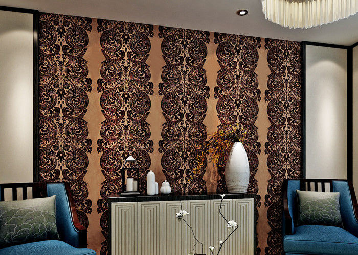 Luxury Waterproof Velvet Flock Wallpaper for Living Room , SGS CSA Certification
