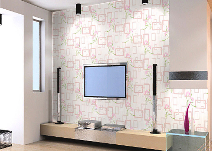 Modern Flower Pattern Non Woven Wallpaper For Entertainment / Household , SGS CSA Approval