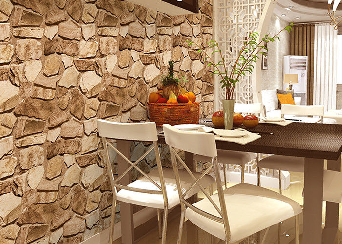 3D Effect Stone Pattern Washable Vinyl Wallpaper With Foam Process Natural Style