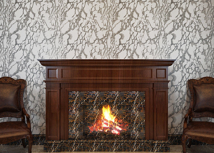PVC Strippable TV Background Wallpaper , Grayish White Marble Wall Covering