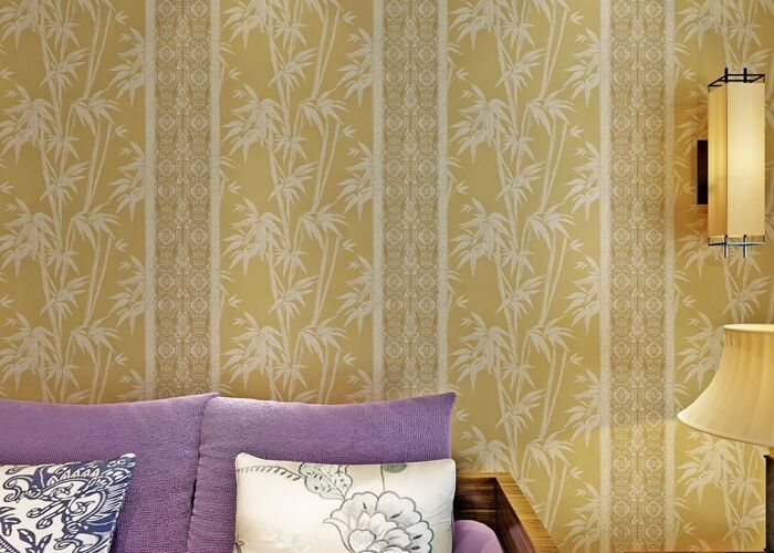 0.53*10 Living Room Asian Inspired Wallpaper / Asian Themed Wallpaper Beige Color